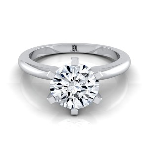 6 Prong Diamond Solitaire Engagement Ring With Petite Rounded Shank In 14k White Gold