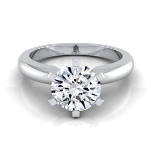 6 Prong Diamond Solitaire Engagement Ring With Rounded Shank In 14k White Gold