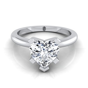 5 Prong Heart Shape Solitaire Engagement Ring With Petite Rounded Shank In 14k White Gold