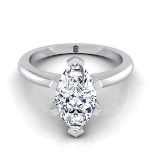 6 Prong Marquise Solitaire Engagement Ring With Petite Rounded Shank In 14k White Gold