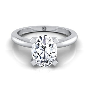 4 Prong Oval Solitaire Engagement Ring With Petite Rounded Shank In 14k White Gold