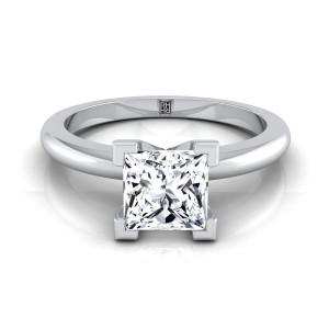 4 V- Prong Princess Cut Solitaire Engagement Ring With Petite Rounded Shank In 14k White Gold