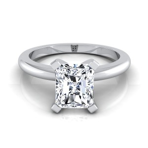 4 Prong Radiant Cut Solitaire Engagement Ring With Petite Rounded Shank In 14k White Gold