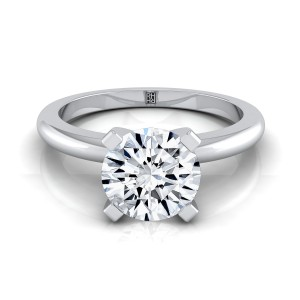 4 Prong Diamond Solitaire Engagement Ring With Petite Rounded Shank In 14k White Gold