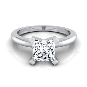 4 Prong Princess Cut Solitaire Engagement Ring With Petite Rounded Shank In 14k White Gold
