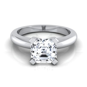 4 Prong Asscher Cut Solitaire Engagement Ring With Rounded Shank In 14k White Gold