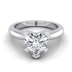 5 Prong Heart Shape Solitaire Engagement Ring With Rounded Shank In 14k White Gold