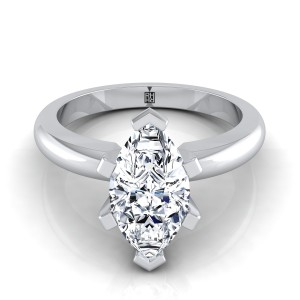 6 Prong Marquise Solitaire Engagement Ring With Rounded Shank In 14k White Gold