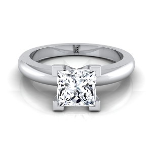4 V-prong Princess Cut Solitaire Engagement Ring With Rounded Shank In 14k White Gold