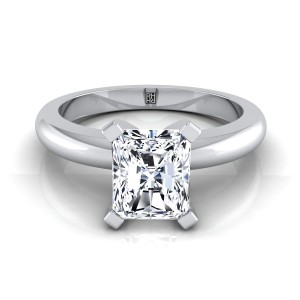 4 Prong Radiant Cut Solitaire Engagement Ring With Rounded Shank In 14k White Gold