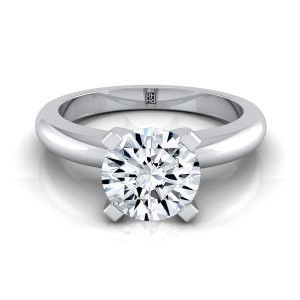 4 Prong Diamond Solitaire Engagement Ring With Rounded Shank In 14k White Gold