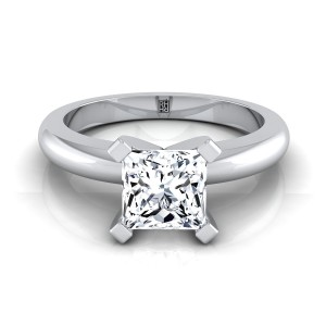 4 Prong Princess Cut Solitaire Engagement Ring With Rounded Shank In 14k White Gold