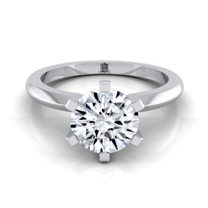 6 Prong Diamond Solitaire Engagement Ring With Petite Modern Knife Edge Shank In 14k White Gold