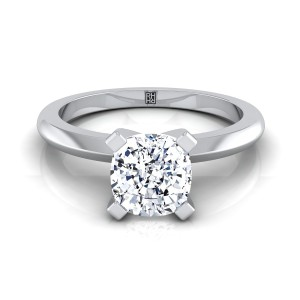 4 Prong Cushion Cut Solitaire Engagement Ring With Petite Modern Knife Edge Shank In 14k White Gold