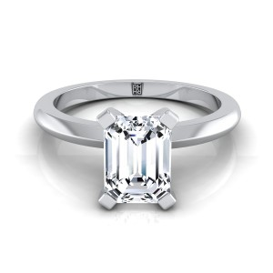 4 Prong Emerald Cut Solitaire Engagement Ring With Petite Modern Knife Edge Shank In 14k White Gold