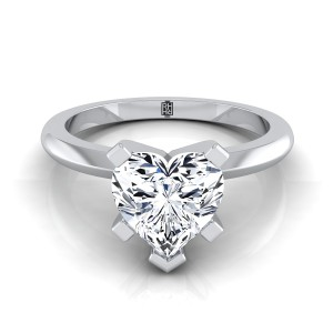 5 Prong Heart Shape Solitaire Engagement Ring With Petite Modern Knife Edge Shank In 14k White Gold