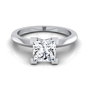 4 V-prong Princess Cut Solitaire Engagement Ring With Petite Modern Knife Edge Shank In 14k White Gold