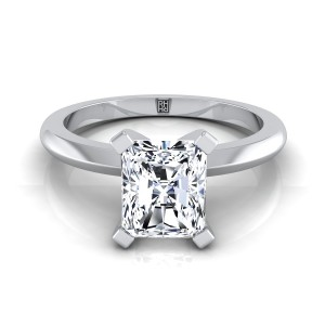 4 Prong Radiant Cut Solitaire Engagement Ring With Petite Modern Knife Edge Shank In 14k White Gold