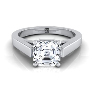 Asscher Cut Diamond Solitaire Engagement Ring With Cathedral Setting And Squared Edge Shank In 14k White Gold