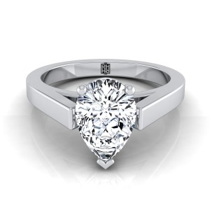 Pear Shape Diamond Solitaire Engagement Ring With Cathedral Setting And Squared Edge Shank In 14k White Gold
