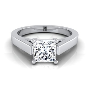 Princess Cut Diamond Solitaire Engagement Ring With Cathedral Setting And Squared Edge Shank In 14k White Gold