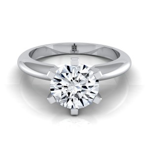 6 Prong Diamond Solitaire Engagement Ring With A Modern Knife Edge Shank In 14k White Gold