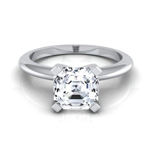 4 Prong Asscher Cut Solitaire Engagement Ring With Petite Modern Knife Edge Shank In 14k White Gold
