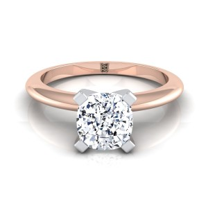 4 Prong Cushion Cut Solitaire Engagement Ring With Petite Modern Knife Edge Shank In 14k Rose Gold