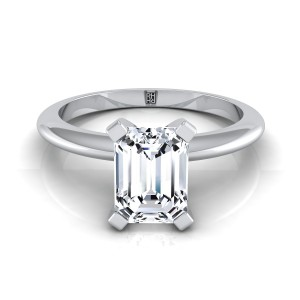 4 Prong Emerald Cut Solitaire Engagement Ring With Modern Knife Edge Shank In 14k White Gold