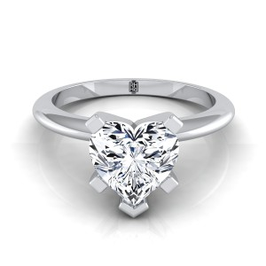 4 Prong Heart Shape Solitaire Engagement Ring With Petite Modern Knife Edge Shank In 14k White Gold