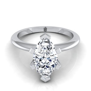 6 Prong Marquise Solitaire Engagement Ring With Petite Modern Knife Edge Shank In 14k White Gold