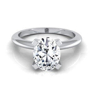 4 Prong Oval Solitaire Engagement Ring With Petite Modern Knife Edge Shank In 14k White Gold