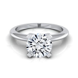 4 Prong Diamond Solitaire Engagement Ring With Petite Modern Knife Edge Shank In 14k White Gold