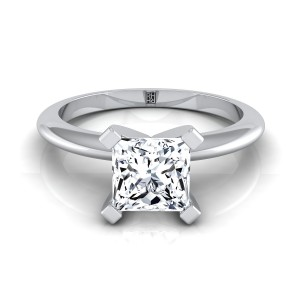 4 Prong Princess Cut Solitaire Engagement Ring With Petite Modern Knife Edge Shank In 14k White Gold