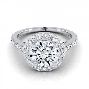 Classic 4 Prong Diamond Halo Engagement Ring In 14k White Gold (3/8 Ct.tw.)