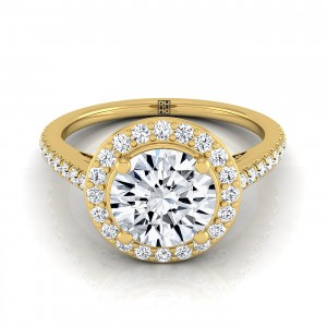 Classic 4 Prong Diamond Halo Engagement Ring In 14k Yellow Gold (3/8 Ct.tw.)