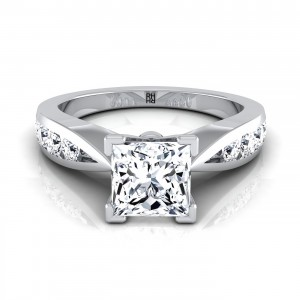 Diamond Engagement Ring With Princess Cut Center And Graduated Diamond Side Stones In 14k White Gold (3/8 Ct.tw.)
