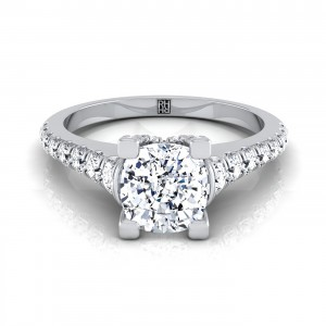 Cushion Cut Diamond Engagement Ring With Graduated Diamond Side Stone In 14k White Gold (3/8 Ct.tw)