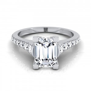 Emerald Cut Diamond Engagement Ring With Graduated Diamond Side Stone In 14k White Gold (3/8 Ct.tw)