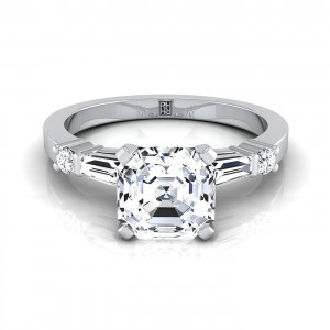 Asscher Cut Diamond Engagement Ring With Tapered Baguette Sides And Round Prong Set Shoulders In 14k White Gold (1/4 Ct.tw.)