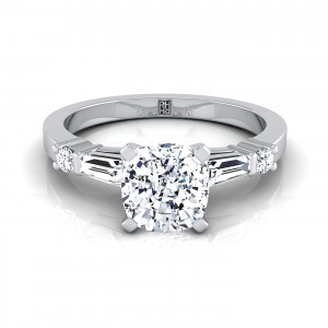 Cushion Cut Diamond Engagement Ring With Tapered Baguette Sides And Round Prong Set Shoulders In 14k White Gold (1/4 Ct.tw.)