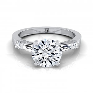 Diamond Engagement Ring With Tapered Baguette Sides And Round Prong Set Shoulders In 14k White Gold (1/4 Ct.tw.)