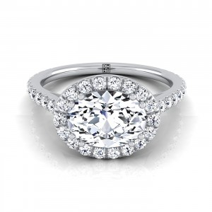 Oval Shape Diamond Halo Engagement Ring East West With Diamond Pave Shank In 14k White Gold (5/8 Ct.tw.)