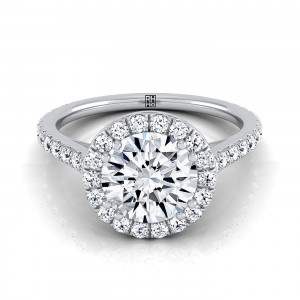 Diamond Halo Engagement Ring With Diamond Pave Shank In 14k White Gold (5/8 Ct.tw.)