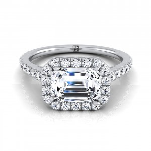 Emerald Cut Diamond Halo Engagement Ring East West With Diamond Pave Shank In 14k White Gold (5/8 Ct.tw.)