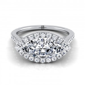Marquise Shape Diamond Halo Engagement Ring East West With Diamond Pave Shank In 14k White Gold (1/2 Ct.tw.)