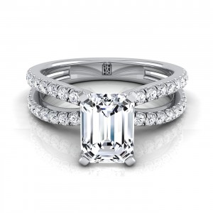 Emerald Cut Diamond Engagement Ring With Pave Split Shank In 14k White Gold (1/3 Ct.tw.)