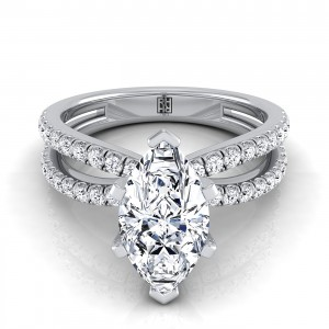 Marquise Shape Diamond Engagement Ring With Pave Split Shank In 14k White Gold (1/3 Ct.tw.)