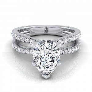 Pear Shape Diamond Engagement Ring With Pave Split Shank In 14k White Gold (1/3 Ct.tw.)