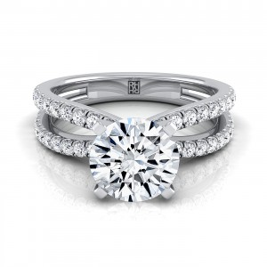 Diamond Engagement Ring With Pave Split Shank In 14k White Gold (1/3 Ct.tw.)
